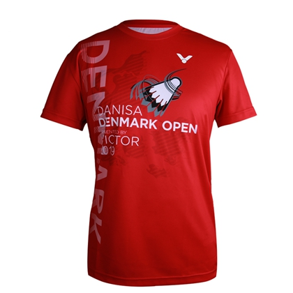 胜利VICTOR 球迷款羽毛球服 T-90065 男女款圆领短袖 速干透气丹麦公开赛