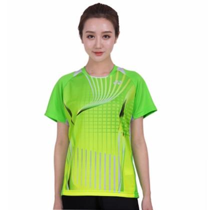 尤尼克斯YONEX羽毛球服 210107BCR 短袖T恤 女款绿色 速干排汗
