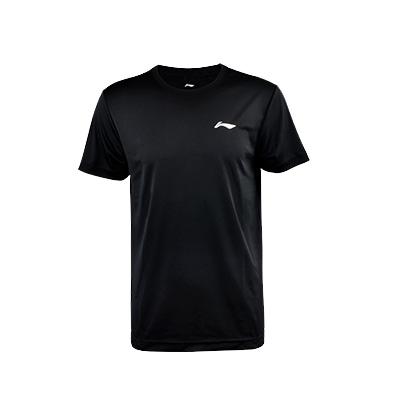 李宁乒乓球服T短袖上衣T恤 黑色圆领 ATSP503-1男款运动比赛服