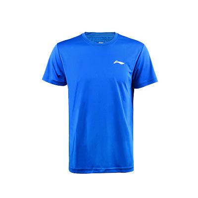 李宁乒乓球服 男款圆领T恤比赛上衣ATSP503-3男款蓝色运动比赛服