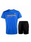 胜利VICTOR 羽毛球套装 90040F 6299C T恤 运动短裤套装 蓝色上衣加黑色经典短裤 速干排汗