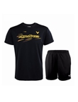 胜利VICTOR 羽毛球套装 90040C 6299C T恤 运动短裤套装 黑色上衣加黑色经典短裤 速干排汗