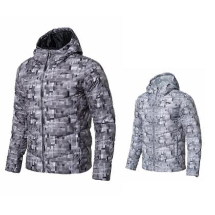 李宁 时尚短款羽绒服 AYMN087 冰川灰满印/标准黑满印 白鸭绒轻薄连帽外套
