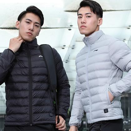 李宁 时尚短款羽绒服 AYMP127 凝雪灰/标准黑 90%白鸭绒加热控温 亲肤可作内胆