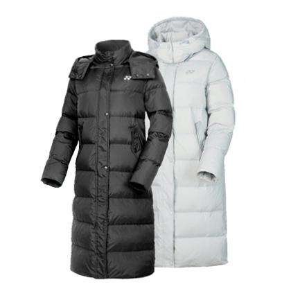尤尼克斯YONEX 时尚长款羽绒服 290048BCR 女款黑色/冰灰色 户外中长款 80%白鸭绒