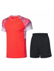 李宁羽毛球服套装 AATP043-3 荧光焰红 男款 速干凉爽 释放运动活力