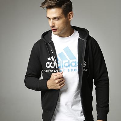 阿迪达斯Adidas 男女同款针织连帽开衫卫衣ADICJCS 针织运动服 黑白款