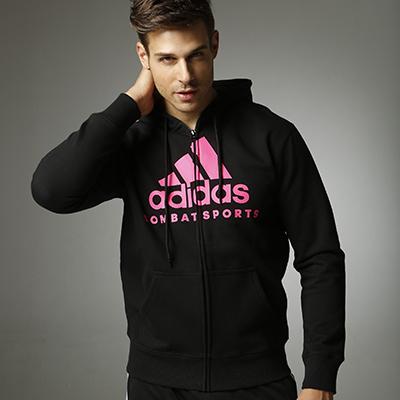 阿迪達斯Adidas ADICJCS 針織連帽開衫衛衣針織運動服 黑紅款