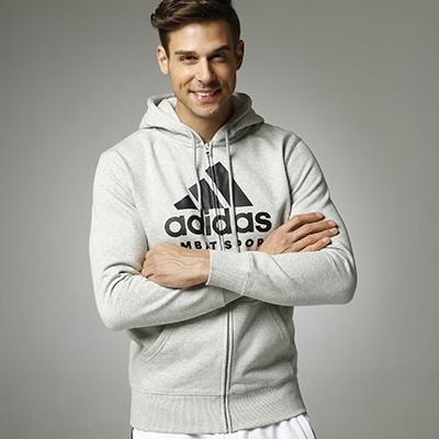 阿迪达斯Adidas ADICJCS 针织连帽开衫卫衣针织运动服 灰黑色款
