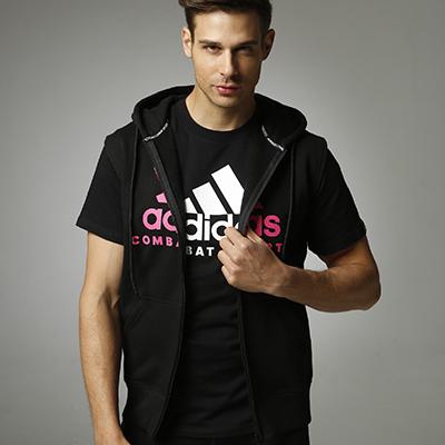 阿迪达斯Adidas ADICJCS/WS 针织连帽无袖开衫卫衣针织运动服 黑红款