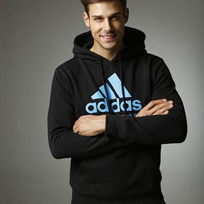 阿迪达斯Adidas  男女同款针织连帽卫衣ADICHCS 针织运动服 春秋冬三季外套 百搭款 黑蓝款