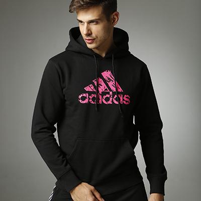 阿迪达斯Adidas 男女同款针织连帽卫衣 ADIHG1 针织运动服 春秋冬三季长袖卫衣外套 黑粉款 男女同款