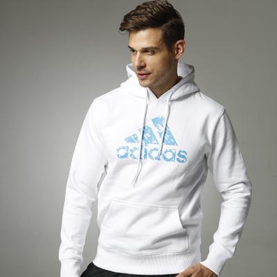 阿迪达斯Adidas ADIHG1 男女同款针织连帽卫衣针织运动服秋季外套加绒保暖 白蓝款