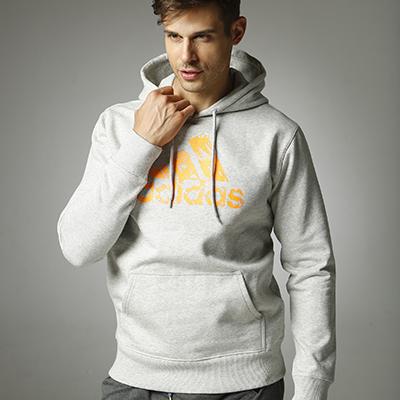 阿迪达斯Adidas ADIHG1 男女同款针织连帽卫衣针织运动服秋季外套加绒 灰橙款