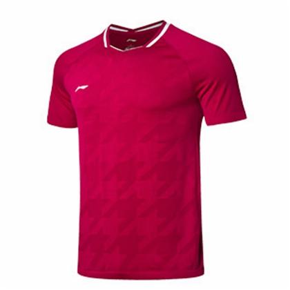 李宁比赛上衣 AAYP025-3 男款 新海棠红 全英大赛球迷款