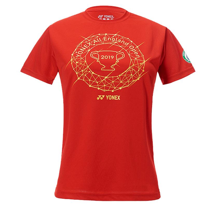 尤尼克斯YONEX羽毛球服 YOB19111CR-001短袖T恤 女 红色(全英赛纪念T恤)