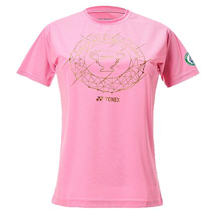 尤尼克斯YONEX羽毛球服 YOB19111CR-026短袖T恤 女 粉色(2019全英赛纪念T恤)