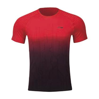 李宁比赛上衣 AAYP067-3 男 红黑短袖T恤(渐变色调,暗感纹提花)
