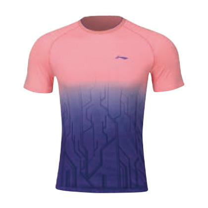 李宁比赛上衣 AAYP067-4 男 桃红/深紫短袖T恤(渐变色调,暗感纹提花)