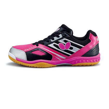 蝴蝶L5乒乓球鞋 玫紅/黑色款 男女通用 L-5專業乒乓球運動鞋 Butterfly  LEZOLINE-5-1802