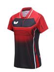 蝴蝶Butterfly  BWH-274-1-0201 红色 乒乓球短袖T恤 女款
