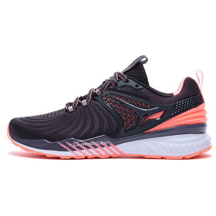 李宁跑步鞋 云五代V2 ARHP008-1 女 标准黑/荧光珊瑚红(云减震,莱卡压立体后跟)