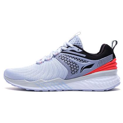 李宁跑步鞋 云五代V2 ARHP008-5 女 浅光蓝/荧光火红(云减震,莱卡压立体后跟)