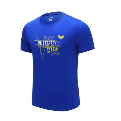 蝴蝶Butterfly BWH-826-03 蓝色乒乓短袖T恤 男女通用