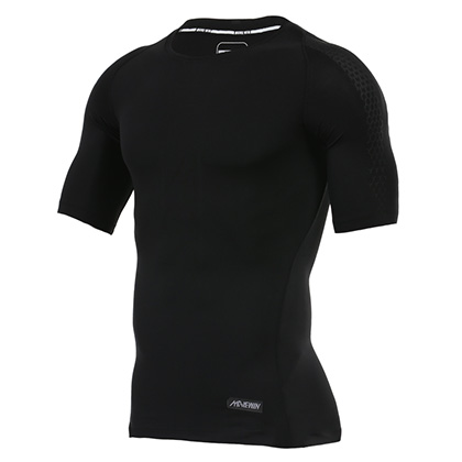 【包邮】范斯蒂克紧身短袖 MA1805201 男 黑色印花(适合跑步/健身/球类等运动)