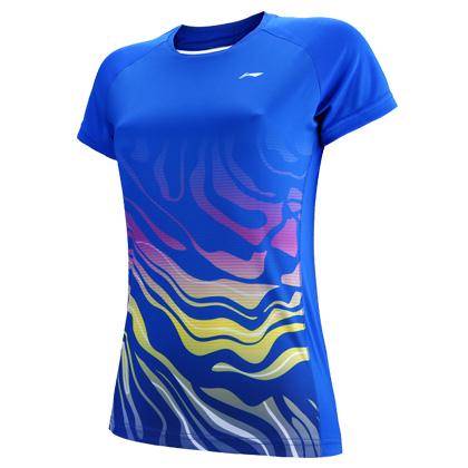 李宁比赛上衣 AAYP56-1 女 晶蓝色短袖T恤(梯田光影图案设计)