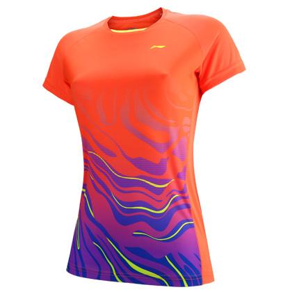 李宁比赛上衣 AAYP056-2 女荧光耀橙短袖T恤(梯田光影图案设计)