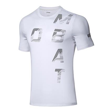 李宁羽毛球短袖文化衫 AHSP193-2 男 标准白(Combat图案,战斗起来吧)
