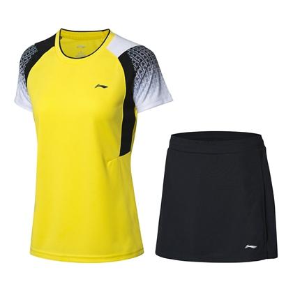 李宁羽毛球服套装 AATP018-4 奇异果黄 女款 速干凉爽 释放运动活力