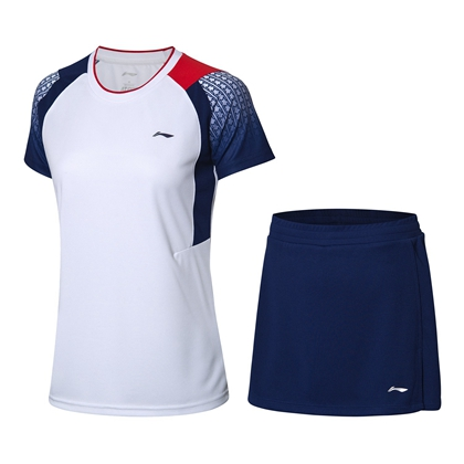 李寧羽毛球服套裝 AATP018-1 標準白 女款 速干涼爽 釋放運動活力