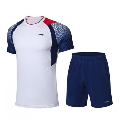 李宁羽毛球服套装 AATP019-1 标准白/深紫蓝 男款 速干凉爽 释放运动活力