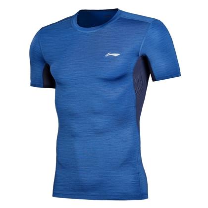 李宁男款紧身衣/压缩衣 短袖T恤 AUDN015-3 太空蓝健身服 运动圆领衫 高弹力吸汗速干