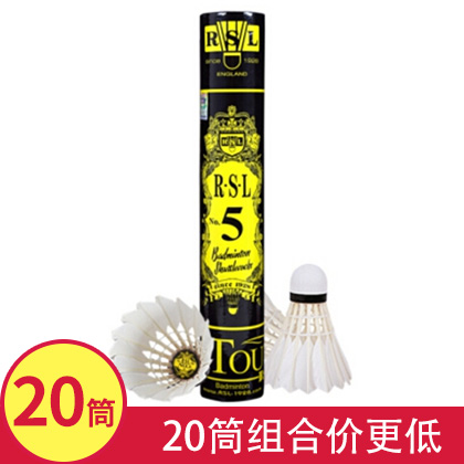 亚狮龙5号RSL NO.5 羽毛球 20筒组合装 (RSL5号亚5 超稳定性能,高级玩家的钟爱)