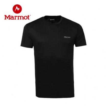 marmot/土拨鼠2019春夏季户外运动男速干t恤圆领轻薄透气宽松短袖 黑色