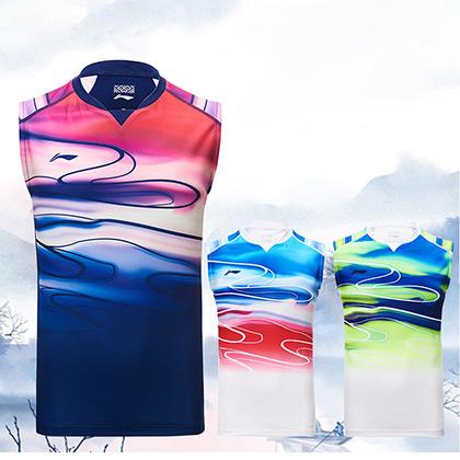 李宁比赛服上衣 AVSP091 男款苏迪曼杯 球迷版背心,羽毛球运动服,壮锦设计大美广西