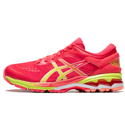 亚瑟士ASICS跑步鞋 KAYANO 26(K26)女跑步鞋 1012A609-700粉色/黄色 新一代鞋皇跑鞋