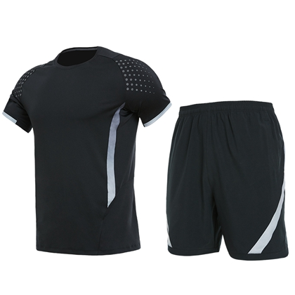 范斯蒂克短袖运动套装 灰色短袖+黑色短裤套装 适合跑步/羽毛球/乒乓球等多项运动