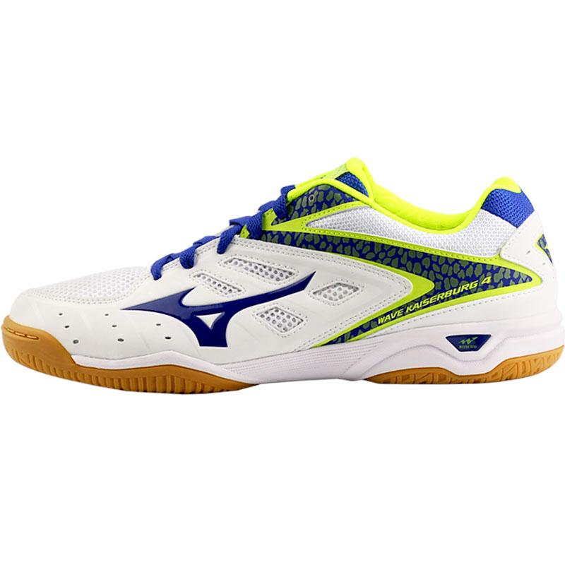 美津浓Mizuno 81GA162027 专业乒乓球鞋 专业防滑耐磨训练乒乓球鞋 白/紫/荧光黄