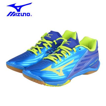 美津浓Mizuno 81GA160045 专业乒乓球鞋 透气减震耐磨乒乓球鞋 蓝/荧光黄