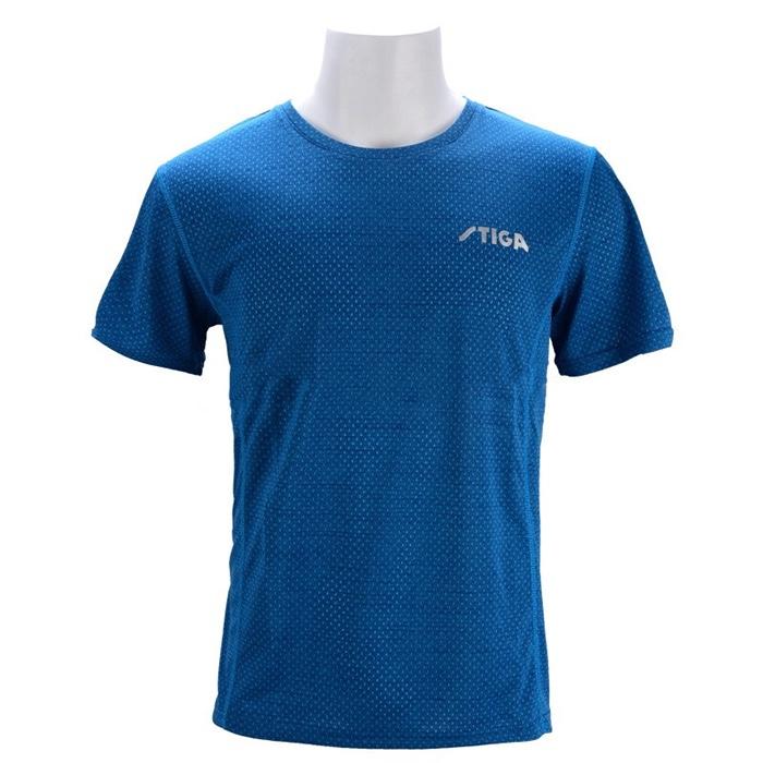 斯帝卡stiga CA-43621运动上衣乒乓球服短袖 轻薄速干简约大气 蓝色 中性款