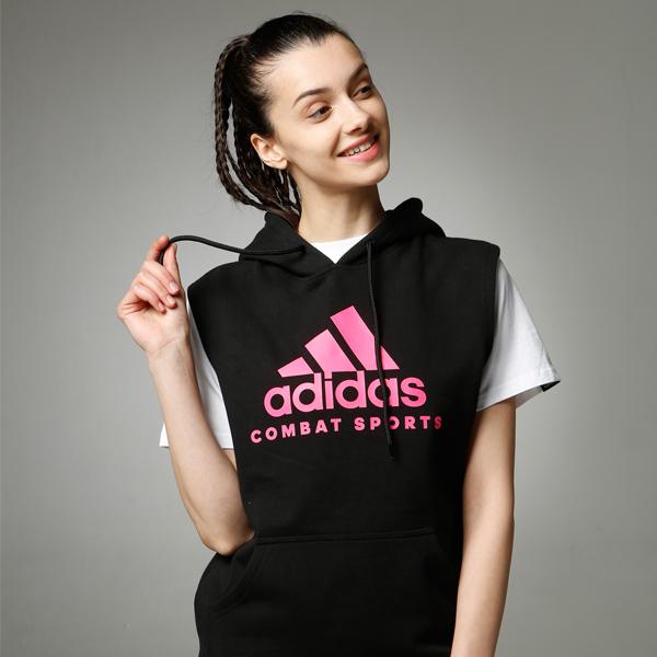 阿迪达斯Adidas 春季百搭款针织连帽无袖卫衣ADICHCS/WS  黑粉款 男女同款针织运动服 春秋冬三季卫衣外套运动卫衣