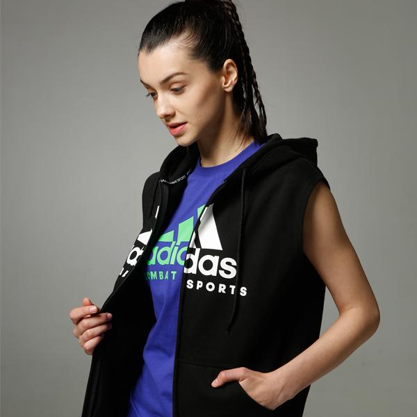 阿迪达斯Adidas 男女同款针织连帽无袖开衫卫衣ADICJCS/WS 春秋冬三季卫衣针织运动服 黑白款