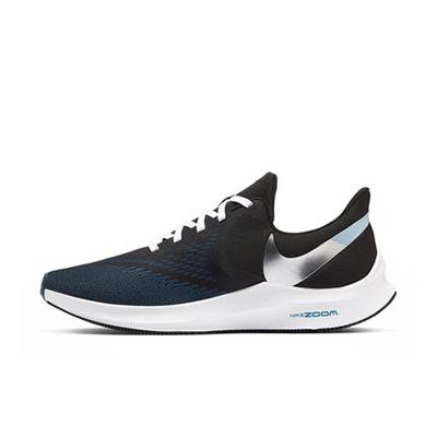 Nike 耐克男鞋跑步鞋ZOOM WINFLO 6 前后雙zoom air緩震運動鞋新款長跑緩震透氣 CU2990-001 黑/金屬銀/白色