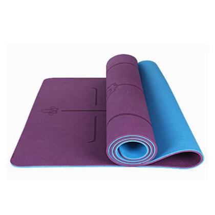 三梵瑜伽垫 加宽80cm加厚经济垫tpe 双面防滑耐用 环保无味 深紫 天蓝