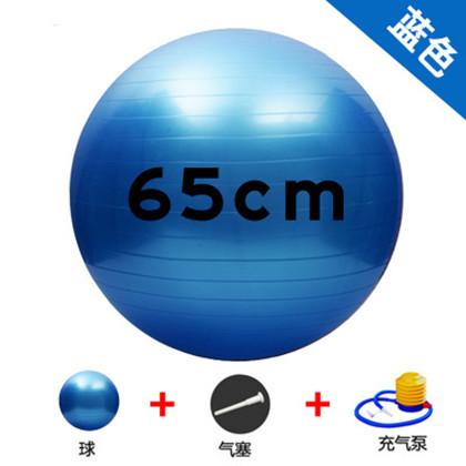 【优个精选】三梵光面瑜伽球 65cm防爆加厚 儿童平衡 健身球 PVC 配打气筒 蓝色