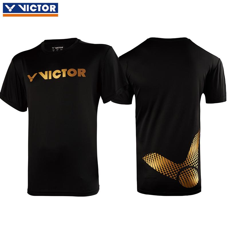 胜利victor羽毛球服 威克多比赛训练运动短袖T恤95006C 男女通用款 黑色